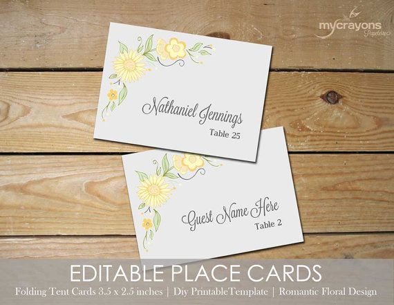 romantic floral editable place cards printable tent card template