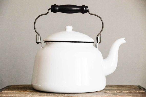 Tea Kettle  Vintage Enamel Kettle  White by SecondsByJaneElaine