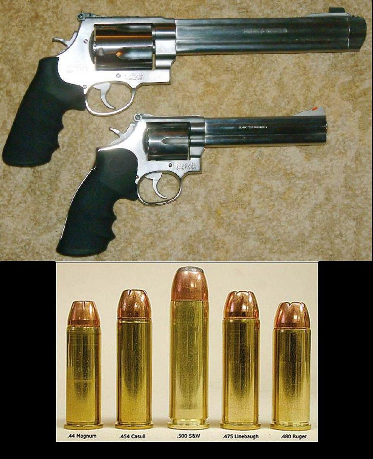 """""""The Smith and Wesson 500 model (top gun, top image) compared to the .44 magnum. The .44 magnum is already notorious for packing a punch which makes me infinitely frightened of the 500 model. It has enough power to literally blow your face off, and then some"""" - Don't fear shooting it and use good form. It's a fair kick over the .44 more like a .454, or .460 handgun rounds ~;^/>"""