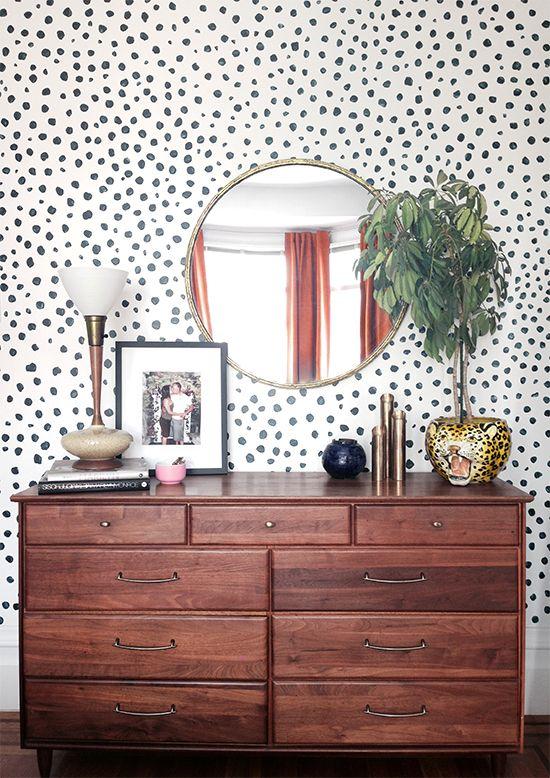 Cheetah print, wall mural, mid century, bedroom. slickdigs.com