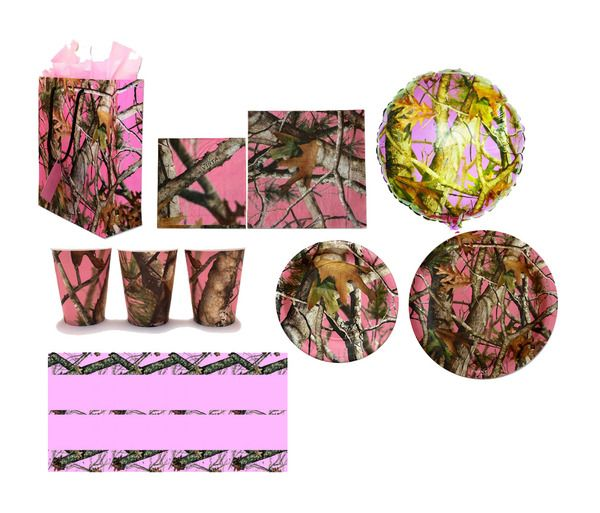 Pink next vista camo mossy oak havercamp birthday party for Pink camo decorations