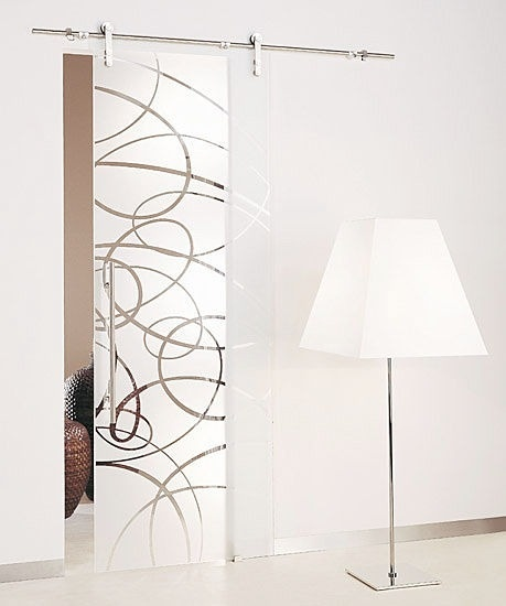 Could etch or paint plexi glass and hang as a room divider at Amber & Ben's patterned glass pane sliding door AURA Casali