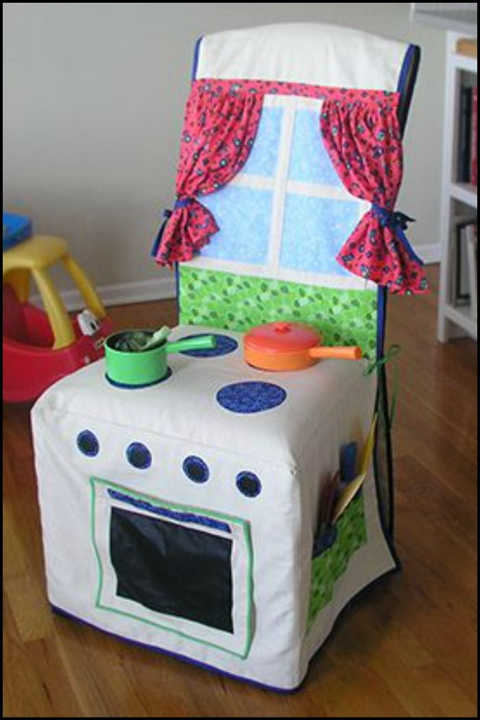 Keep the kids entertained by making this DIY play kitchen chair slipcover!