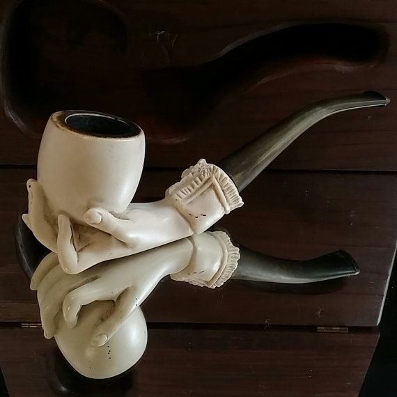 Antique Edmund Pipe Co. Oddity Meerscham Tabbaco Pipe with Case Smoking Pipes