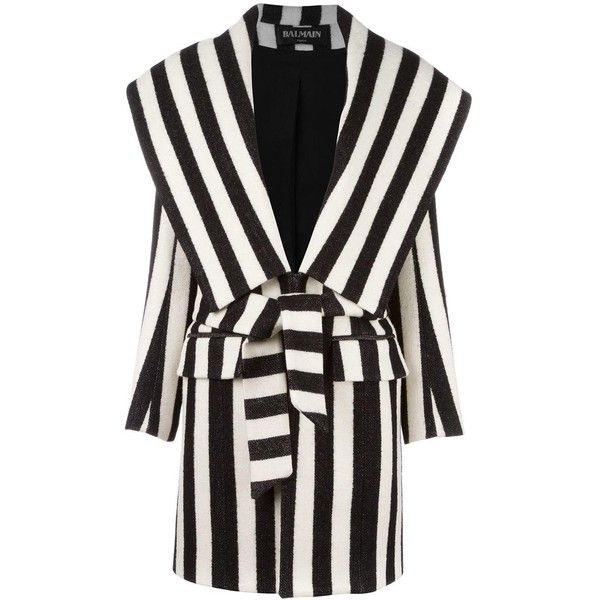 Balmain striped coat found on Polyvore featuring outerwear, coats, jackets, balmain, black, stripe coat, striped coat, print coat and patterned coat