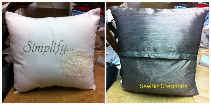 "Worded pillows- 16""  25.00. Simplify is 100% cotton homespun off white on front, and poly crinkle taupe on reverse. Embroidery is taupe with off white hand made doily as accent."