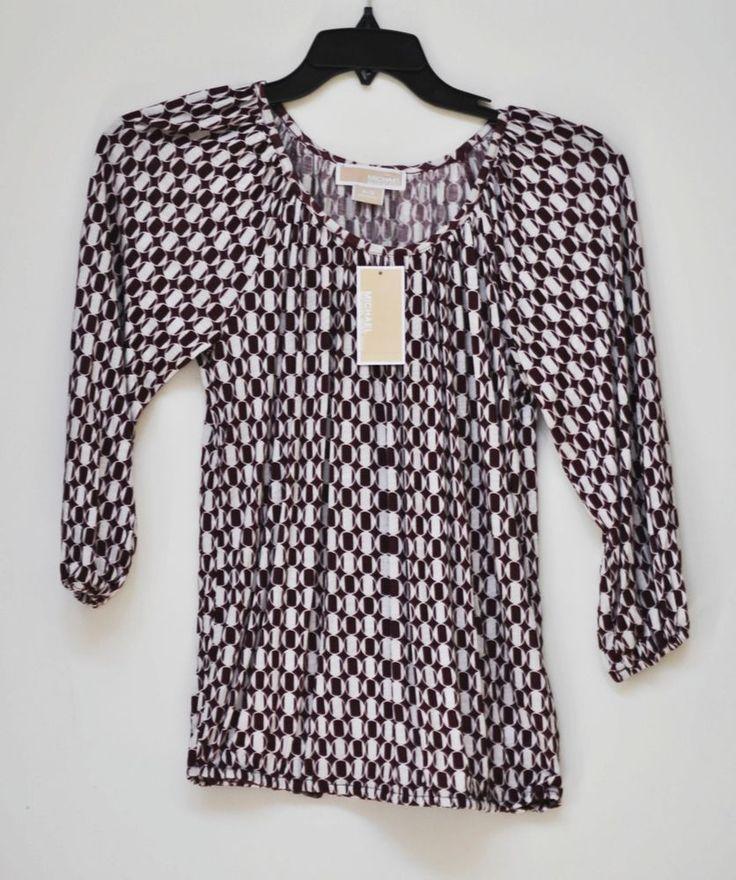 MICHAEL KORS Women Blouse Patterned Roundneck Long Sleeve Petite size S NWT #MichaelMichaelKors #Blouse #Casual