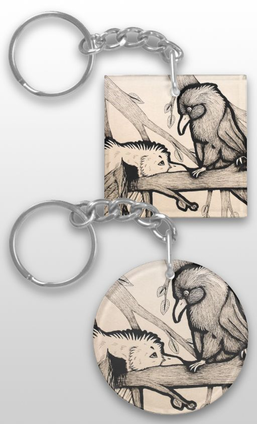 """The Pirate and the Princess"" Black and white Illustrated Bird Keychain #seagull #raven #crow #products #art #illustration"