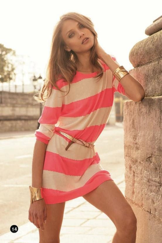 Pink and White stripes with gold accents :): Summer Dresses, Summer Looks, Pink Stripes, Cute Dresses, Color, Summer Outfits, Gold Accent, The Dresses, Gold Accessories