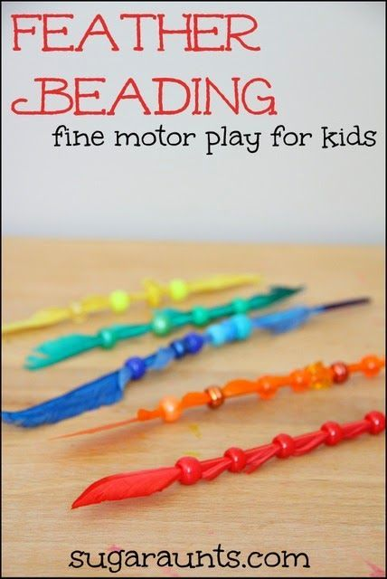 Fine motor activity with beads and feathers. This works on so many developmental skills~pincer grasp, bilateral hand coordination, visual scanning, eye-hand coordination.  And learning components, too. (Sugar Aunts)
