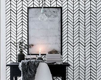 Self adhesive vinyl wallpaper  Herringbone pattern print