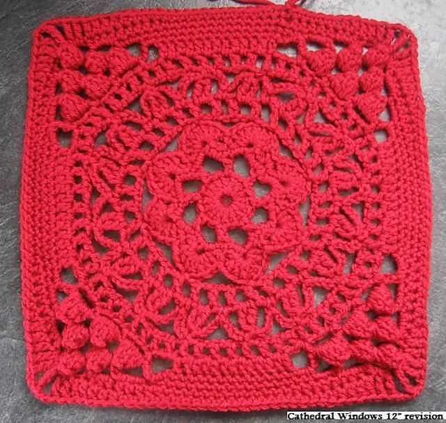 """Cathedral Converts 12"""" Afghan Block Tutorial/Re-write"""