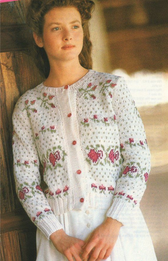 d121c8dd5b49 Vintage Knitting Patterns for Women PDF e-pattern digital format to  download. Womens Floral