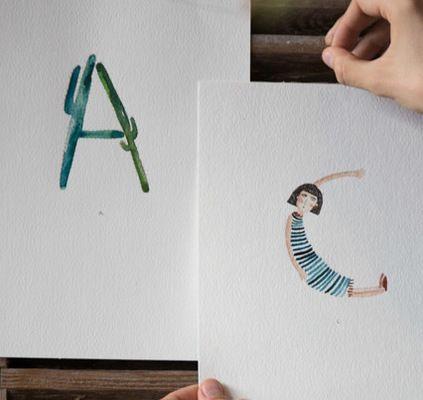 Eine tolle Anleitung für eine Aquarell-Typografie von Gretas Schwester.