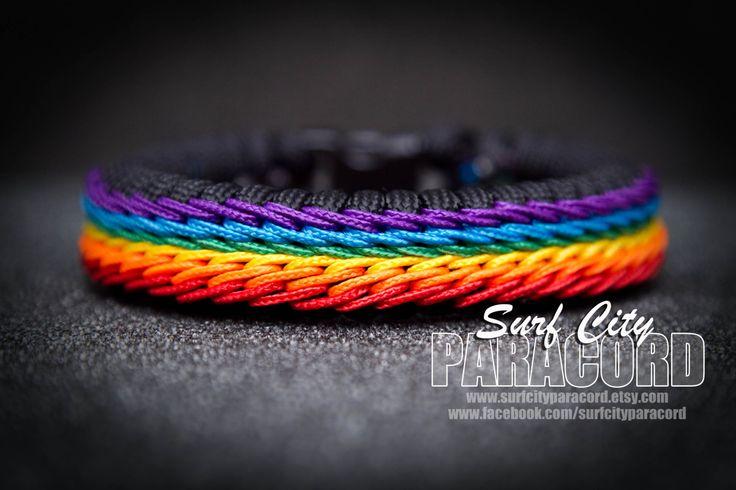 Rainbow Stitched Fishtail Paracord Bracelet