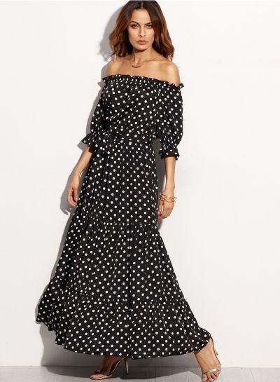 6abdc8e5a74 Women s Half Sleeve Polka Dot Off Shoulder Maxi Dress. Women s Slash Neck  ...