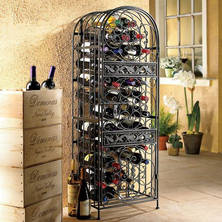 Renaissance Wrought Iron Wine Rack with a Scrolling Slide-Lock door.  Holds 45 bottles of wine.