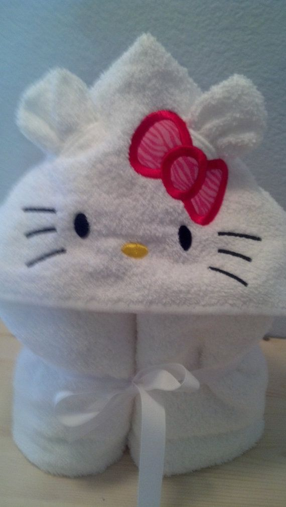 Hello Kitty Hooded Towel by SewDreamyDesigns1 on Etsy, $19.00
