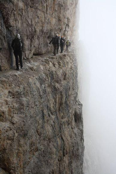 """A spectacular passage of the """"via ferrata"""" Bocchette Centrali, on the Dolomiti del Brenta, Italy."""
