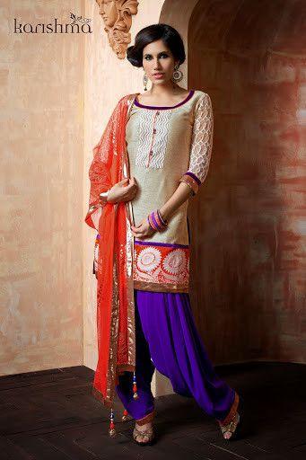 Readymade Beige Purple Patiala Salwar Suit shop at andaazcollectionscanada