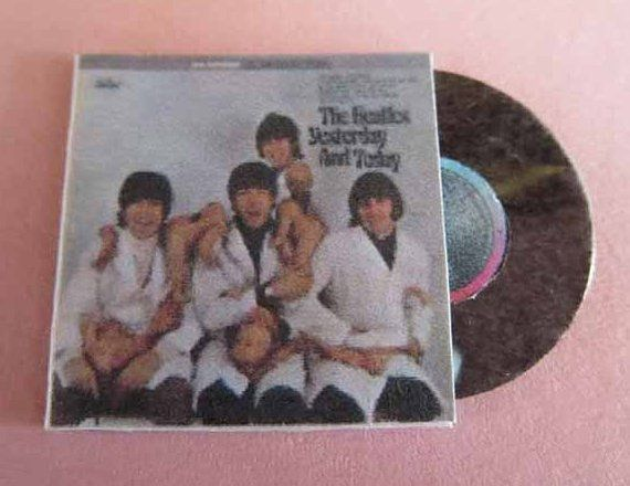 Dollhouse miniature 1:12 scale Record Album . This Beatles Yesterday and Today Record Album 1966 is 1 x 1 and is printed front and back. Record