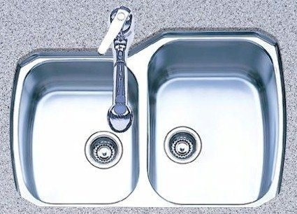 Oliveri 834U Stainless Steel Sink, Double Large/Small Basin, Large Basin On  Right