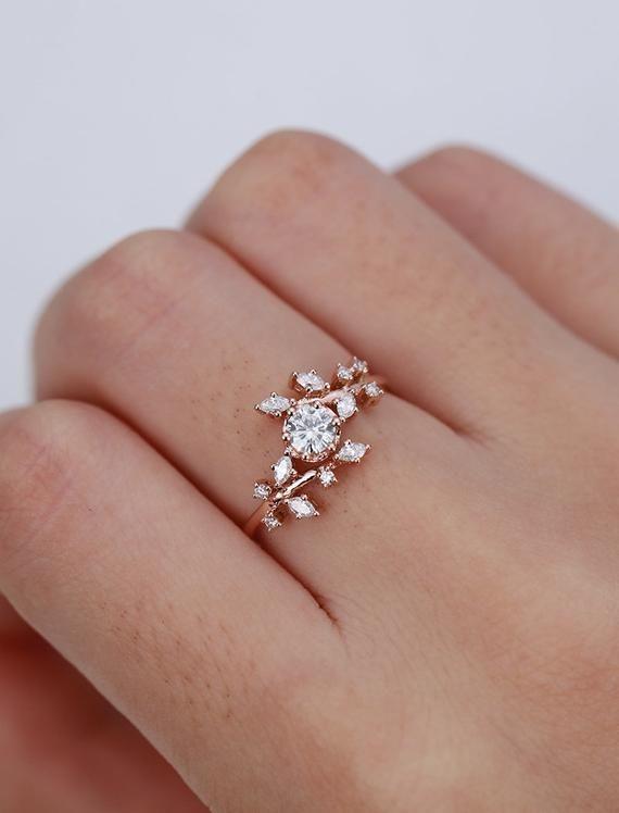 Rose gold engagement ring vintage moissanite ring Diamond Cluster ring unique leaf wedding women Bridal set Promise Anniversary Gift for her
