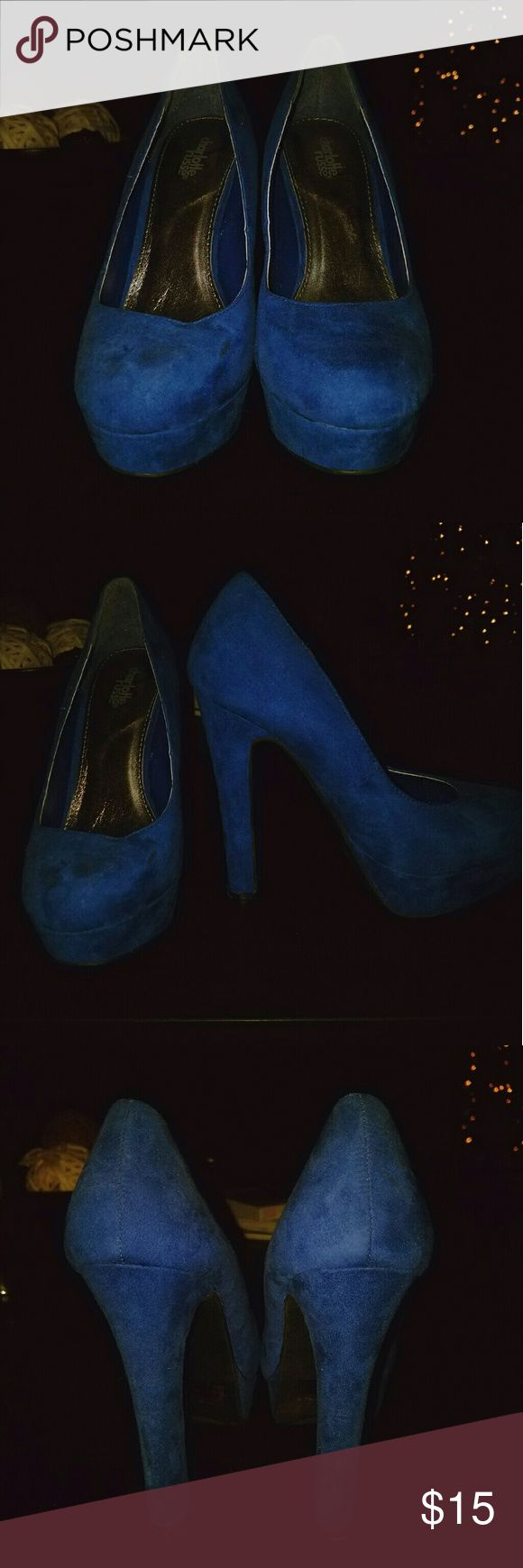 Colbat Blue Suede Pumps These run small may fit a 6. Only wore once probably just needs to be cleaned (probably a little dirty from moving and them being in storage) Charlotte Russe Shoes Heels