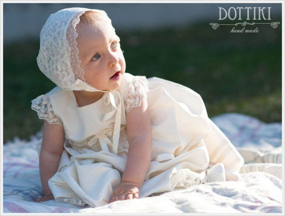 Baby Girl Christening Dress Christening Silk Gown Baptism #babygirldress, #christeningdress, #dottiki