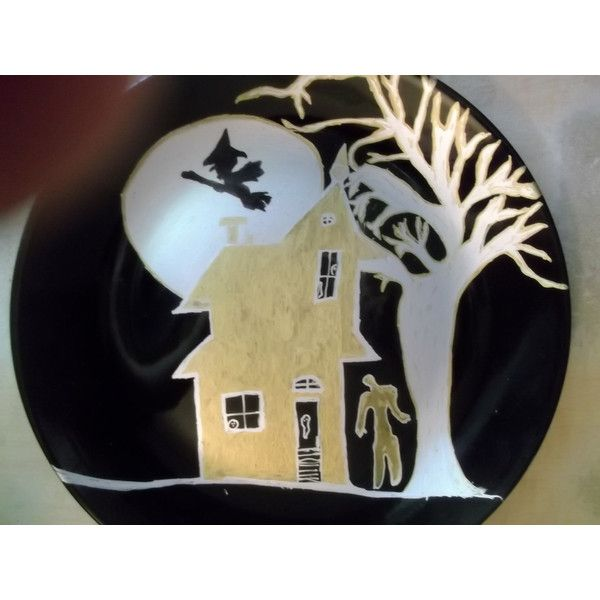 The Giving Plate Halloween Zombie Party Black Gold and Silver Hand... ❤ liked on Polyvore featuring home, home decor, holiday decorations, black home decor, painted plate, halloween home decor, handpainted plates and halloween plates