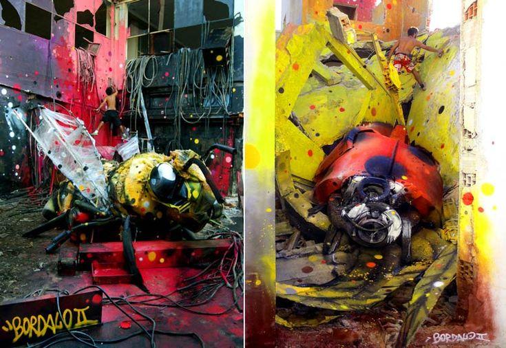 street art фото, стрит-арт bordalo ii, стрит-арт artur bordalo, граффити оса и божья коровка