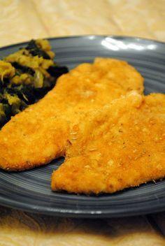 petto di pollo impanato e aromatizzato al forno
