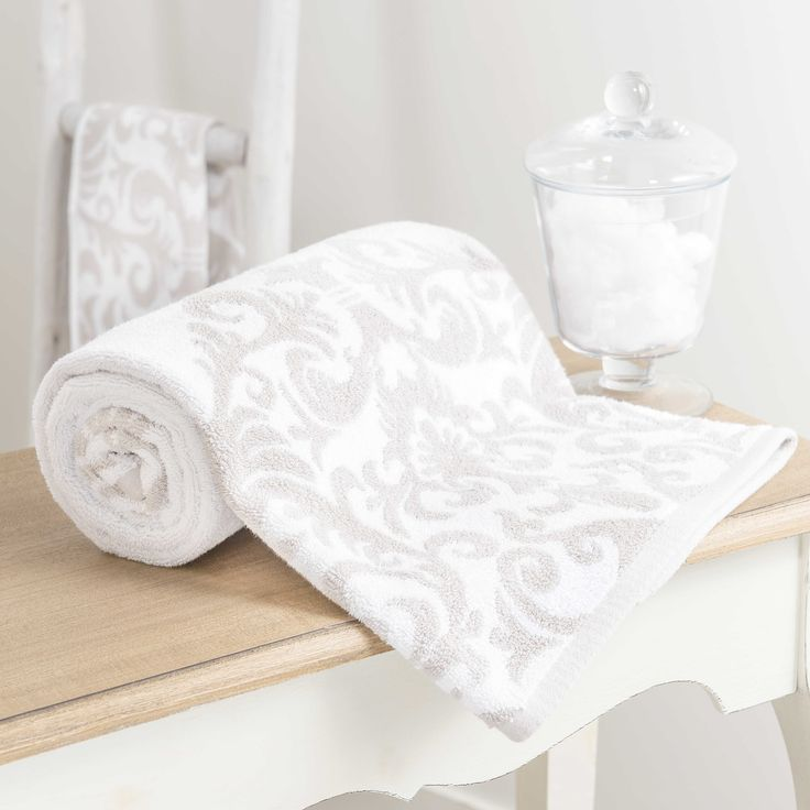 Handtuch aus Baumwolle, weiß/beige, 50 x 100 cm, ARISTIDE