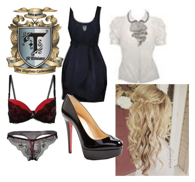 """St Trinians - Posh Totty"" by little-miss-pyschotic-fangirl ❤ liked on Polyvore featuring Christian Louboutin"