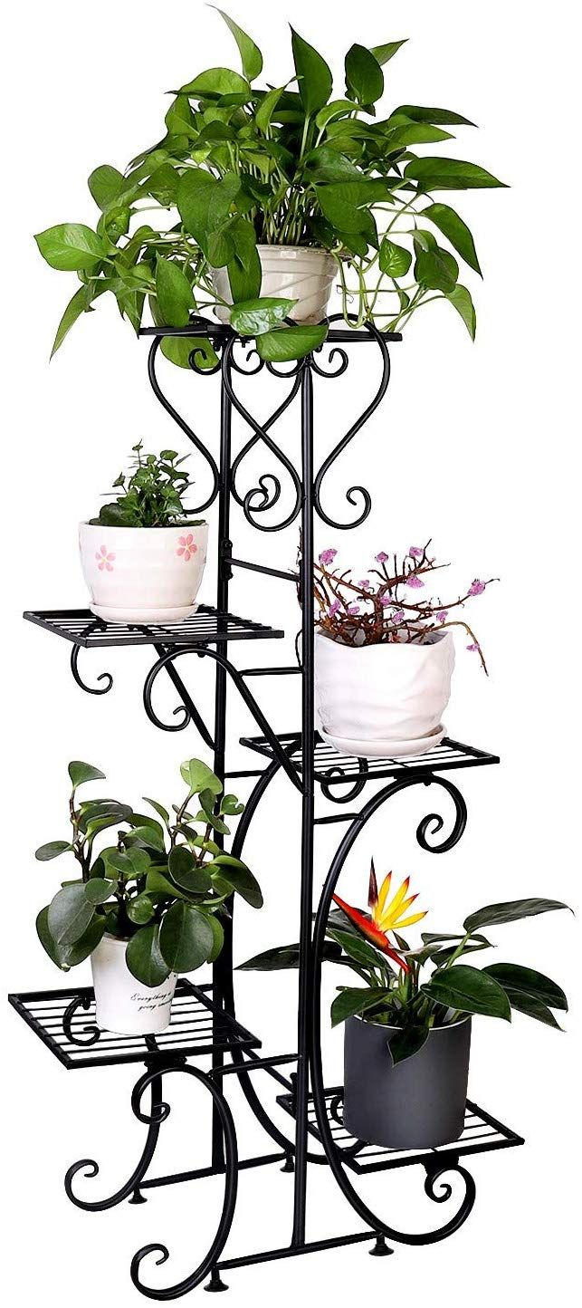 Tall Plant Stand Indoor 5 Tier Wrought Iron Shelf Plant Rack