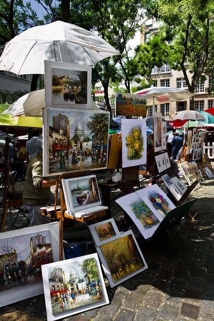Paintings at Place du Tertre, Montmartre, ~ Paris. France.