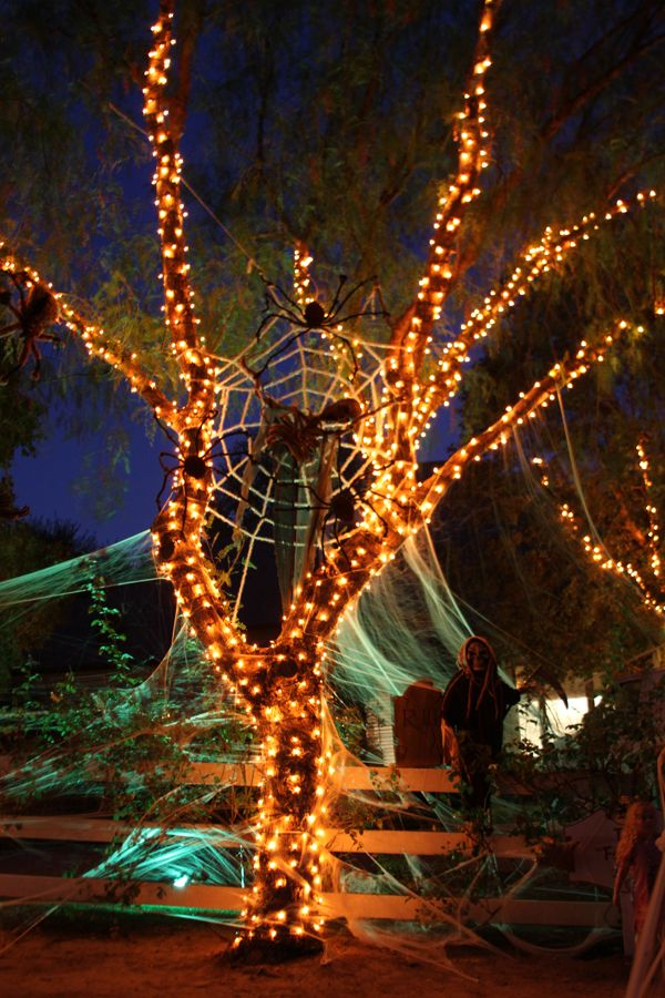 lilyshop our house decorated for halloween too cool - Halloween Light Ideas