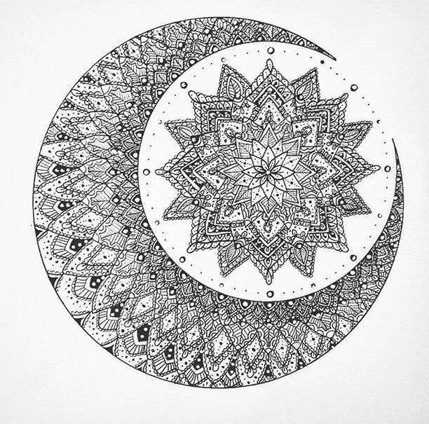 Moon mandala (tattoo n art inspo)                                                                                                                                                      More