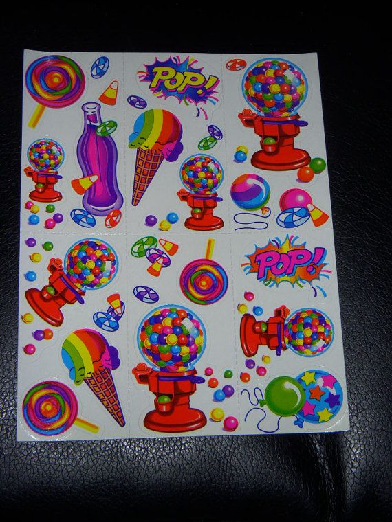 lisa frank vintage ice cream, candy, and balloons stickers!