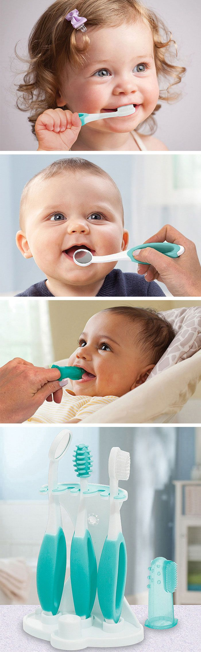 Infant oral care set - everything you need from 6 months to 2 years including, toothbrush, mirror etc. #baby #product_design