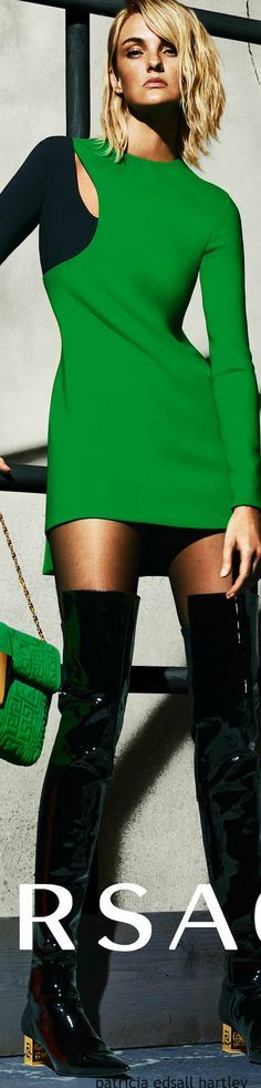 short green dress @roressclothes closet ideas women fashion outfit clothing style apparel Versace 2015-16 Ad Campaign