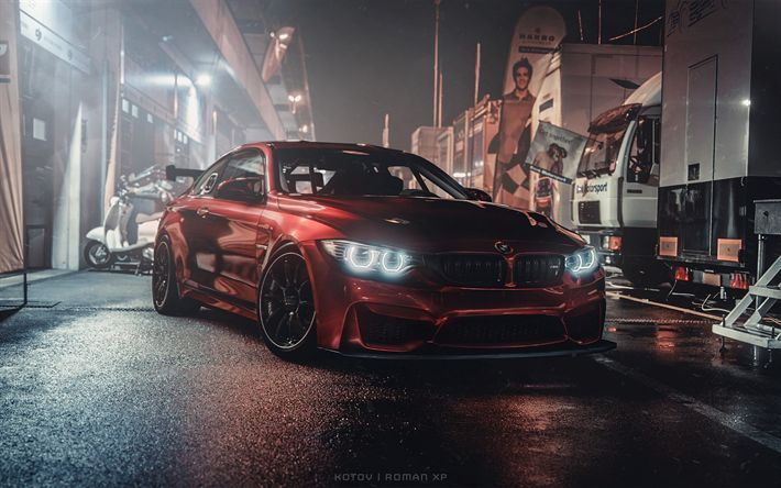 Download Wallpapers Bmw M4 Tuning F82 Night 2018 Cars Supercars