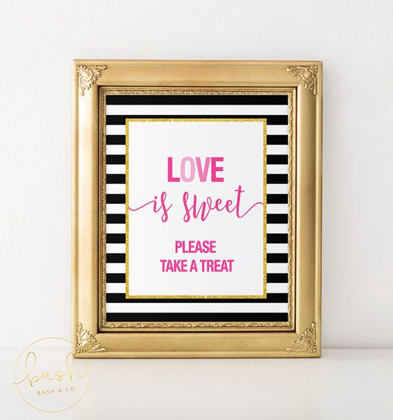 Kate Spade Inspired Love is Sweet Sign - Bridal Shower, Wedding, Engagement Party, Sweets Table, Candy Bar, Dessert Table, Favour Sign
