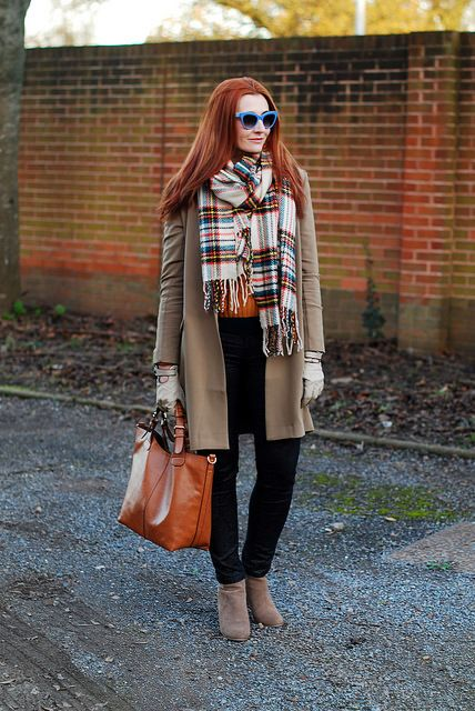 Autumnal tones with an oversized tartan scarf by Not Dressed As Lamb, via Flickr