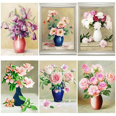 5D Diamonds Painting Flowers Embroidery Mosaic Cross Stitch Home DIY Decoration