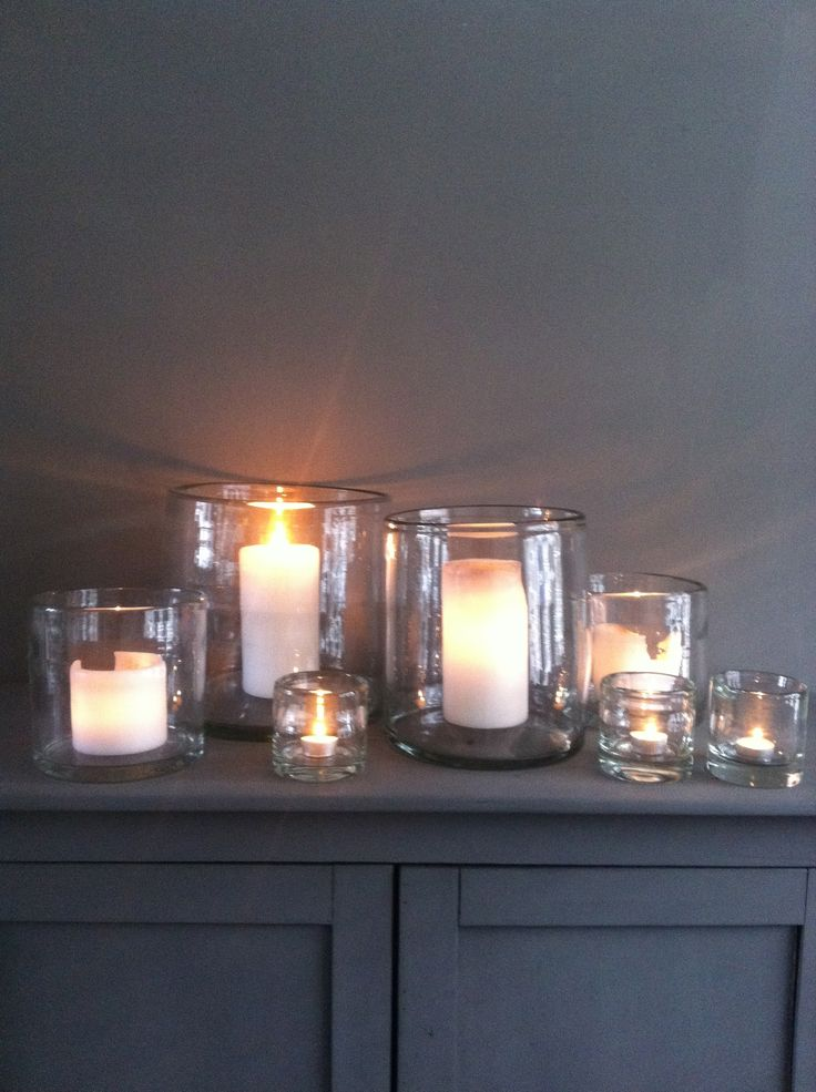 candles - create a dramatic display with glass holders and candles of all different sizes