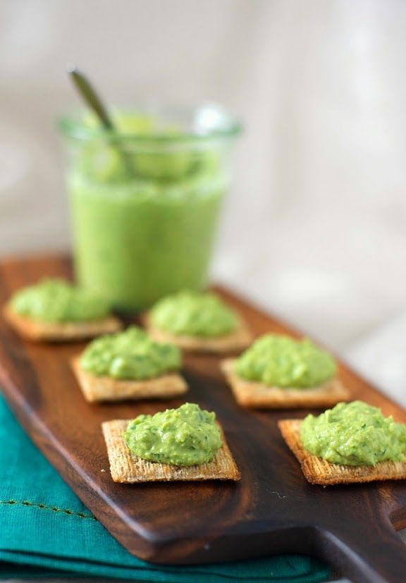 1 cup fresh shelled peas or frozen  1/4 cup fresh cilantro (including stems)  2 tbsp. tahini  2 tbsp. lime juice  2 small cloves or one large clove chopped garlic  1/4 tsp. ground cumin  Salt