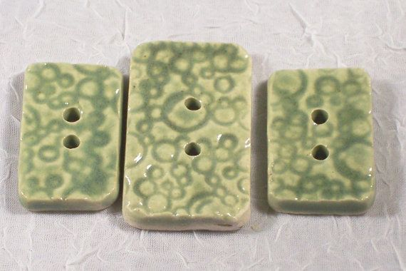 Jade Green Ceramic Buttons Three Textured by ClaycrazyPottery