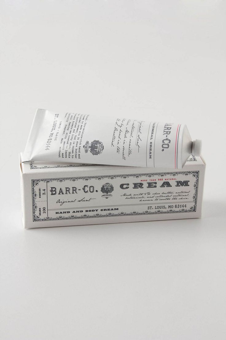Barr-Co. Hand Cream - Anthropologie.com $20.00 Formulated with aloe, shea butter and colloidal oatmeal, this therapeutic emulsion soothes irritated and itchy skin while helping maintain moisture. It sinks in, feels silky and leaves behind a fresh, clean scent that calms the senses. Packaged in an apothecary-inspired reusable glass bottle, this vegan product contains no parabens or petrochemicals and is handcrafted in small batches in St. Louis