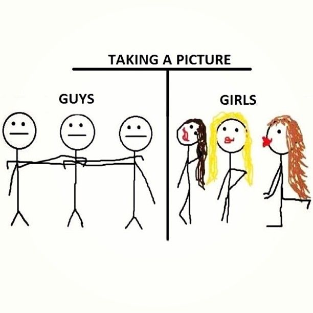 Taking a  picture - girls vs. guys.  What is wrong with girls these days - ugh